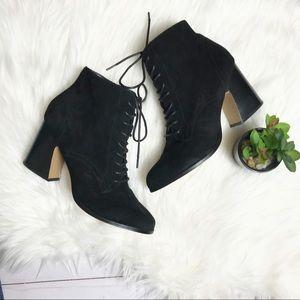 KENSIE- Black Suede Lace Up Booties